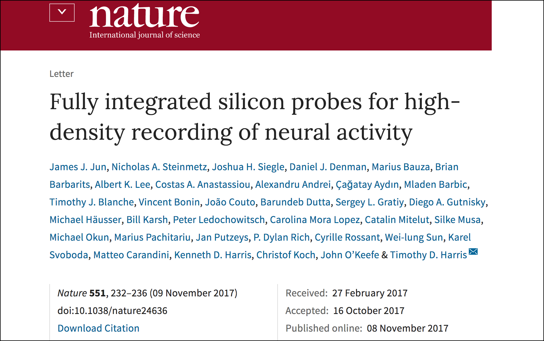 New paper in Nature